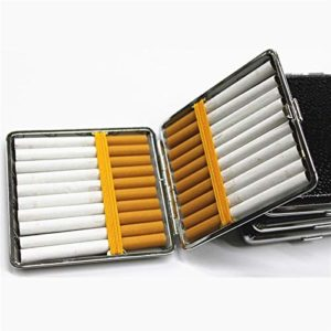 LOMAX Stockage Boîte à cigares, Cigarettes en Cuir personnalisés Idées Case 20 Packs, boîte-Cadeau avec Élastique, Brown Box en Cuir, boîte en Cuir Métal Commodité (Color : Random)