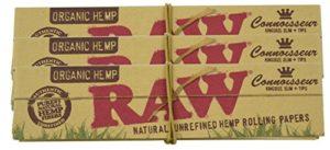 Raw roi de chanvre biologique connoisseur size slim papiers à rouler & astuces (3 pack)