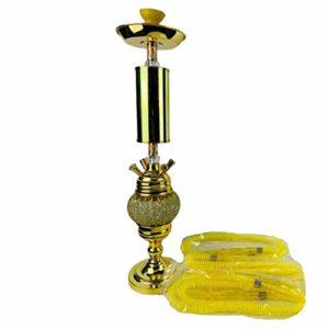 SSCYHT Ensemble Narguilé Moderne 28″ avec Lumière LED Ensemble Complet Chicha à 4 Tuyaux Bol Céramique Vase Verre Filtre à Chicha pour Une Meilleure Expérience Fumer,d'or