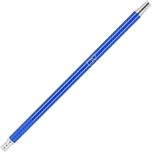 AO® Manche chicha carbon acier inoxydable V2A | Embout carbon compatible avec tous les tuyaux narguilé en silicone (Bleu marine)