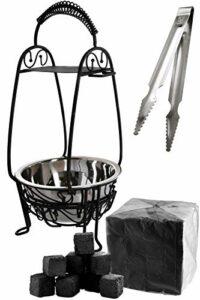 Kaya Shisha – Panier à charbon pour narguilé avec pince à charbon en acier inoxydable + 1 kg de charbon naturel [grand, inoxydable, stable et brillant] – Accessoires pour narguilé