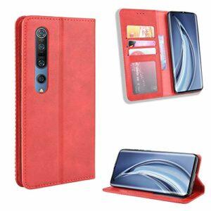 LODROC Coque Xiaomi Mi 10 Coque,Housse en Cuir Premium Flip Case Portefeuille Etui avec Stand Support et Carte Slot pour Xiaomi Mi10 / Mi 10 Pro 5G – LOBYU0101090 Rouge