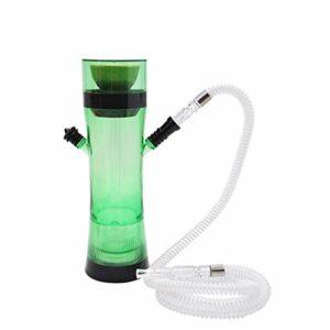 Mini Shisha Set, Hookah Voyage Avec Housse, Kit Chicha avec du charbon cuvette en céramique Collier de serrage Connecteur accessoire, (sans nicotine) green