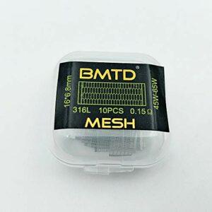 Myuanc Lot de 10 bobines de fil préfabriquées 316L pour cigarette électronique RDA Vape (SS 316L Mesh Coil (0,15 ohm)