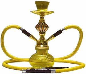 Narguilé Chicha Double Tube, Pipe avec 2 Tuyaux Ensemble Fumeur Tuyau d'eau Ensemble Double Tuyau Narguilé (sans Nicotine)-E