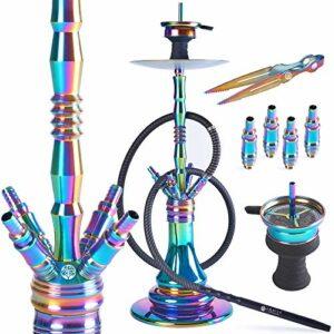 ORACLE HOOKAH® Rainbow Set narguilé en acier inoxydable V2A arc-en-ciel 72 cm 4 raccords avec accessoires tels que tuyau tête et embout buccal en aluminium (kit narguilé avec 1 tuyau/1 embouchure)