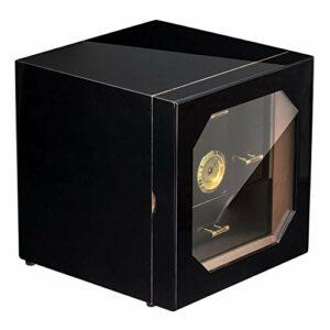 QSCZZ Humidor de Cigare de Verre translucide, avec humidificateur et séparateur d'hygromètre précis, 3 tiroirs Peuvent contenir Environ 35 cigares, Noir (Bois de cèdre)