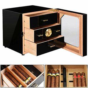 QSCZZ Humidor de Cigare en Bois de cèdre Noir de avec hygromètre et humidificateur précis, 3 tiroirs Peuvent contenir 35 cigares, adaptés aux boîtes de Rangement des cigares pour Hommes