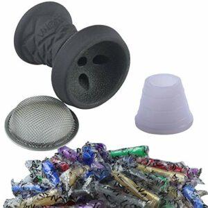 SMOKE 2U Kit de foyer en pierre de qualité supérieure – Tête en pierre + passoire + joint de tête + 100 embouts hygiéniques (gris foncé)