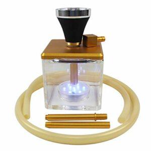 YONGCHY Shisha Hookah Set, narguile Acrylique LED avec 1 tuyaux, Environ 22 cm Ensemble Complet d'accessoires Nightclub,Jaune