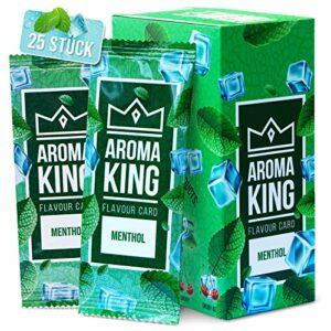 Aroma King – Premium kit de 25 Carte Menthol pour Une saveur inoubliable   Aroma Card   avec boîte pour Ranger Les Cartes de Feuilles de Menthol