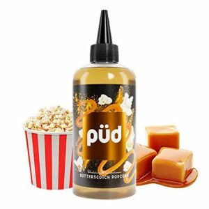 Butterscotch Popcorn 200ml Püd – Joe's Juice – Sans tabac ni nicotine – Vente interdite aux personnes âgées au de moins de 18 ans – 0 MG – Genre : 80 ml et +