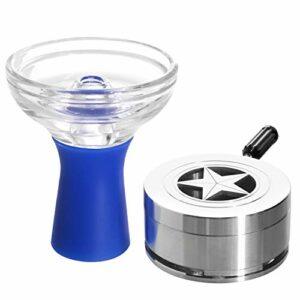 Kaya Heat Manager Kit de chicha Phunnel en verre avec base en silicone et fumoir – Accessoires de gestion de la chaleur pour narguilé (Bleu)