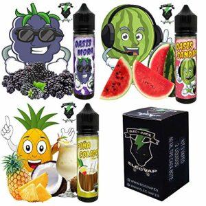 KIT 3X60ML E-Liquide OASIS MORA, melon d'eau, Ananas de ElecVap – Sans nicotine NI tabac. – 120 ml au format TDP – E liquide pour cigarettes électroniques – E-liquides pour Vaper