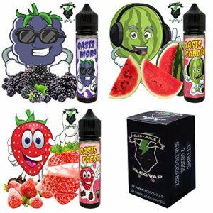 KIT 3X60ML E-Liquide OASIS Pastèque, mûre, fraise de ElecVap – Sans nicotine NI tabac. – 120 ml au format TDP – E liquide pour cigarettes électroniques – E-liquides pour Vaper