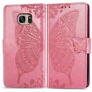 LODROC Coque Galaxy S7 Coque,Housse en Cuir Premium Flip Case Portefeuille Etui avec Stand Support et Carte Slot pour Samsung Galaxy S7/G930F – LOSD0100512 Rose