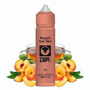 Peach ice tea 50ml – Zap juice – Sans tabac ni nicotine – Vente interdite aux personnes âgées au de moins de 18 ans – 0 MG – Genre : 40-70 ml