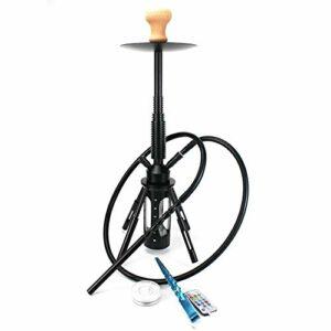 R&Xrenxia 68.2cm Hookah Rocket Shisha avec Diffuseur de métal léger à LED Fumeur Tuyau d'eau Stable Vase Vase Nargile Sheesha Hookahs Set,Noir