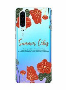 Suhctup Compatible pour Huawei Nova 7 Coque Silicone Transparent Ultra Mince Étui avec Clear Mignon Fleurs Motif Design Housse Souple TPU Bumper Anti-Choc Protection Cover,A9