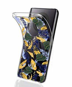 Suhctup Compatible pour Huawei P10 Plus Coque Silicone Transparent Ultra Mince Étui avec Clear Mignon Fleurs Motif Design Housse Souple TPU Bumper Anti-Choc Protection Cover,A13