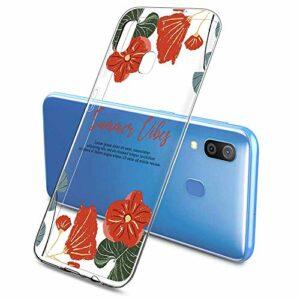 Suhctup Compatible pour Samsung Galaxy A70E Coque Silicone Transparent Ultra Mince Étui avec Clear Mignon Fleurs Motif Design Housse Souple TPU Bumper Anti-Choc Protection Cover,A6