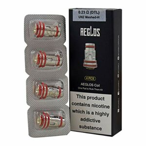 Uwell Aeglos Lot de 4 bobines sans nicotine UN2 Maille H 0,23 ohm