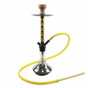 WJMT 60cm Hookah Ensemble de Verre en Aluminium Shisha Bookah Narghile Tuyau Narghile Tuyau Un Tuyau LED Feu de fumez (Color : Yellow)