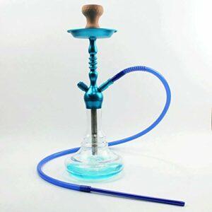 WJMT Shisha Hookah Aluminium Hookah Ensemble de la Partie de la Base de Verre Steaby Fumer Un Tuyau Grand Smoke Silicone Brokhah Bol et Pince à Charbon (Color : Blue)