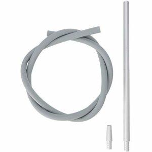 AO® Kit de tuyau à chicha en aluminium avec embout buccal et adaptateur de tuyau en silicone mat 40 cm argenté