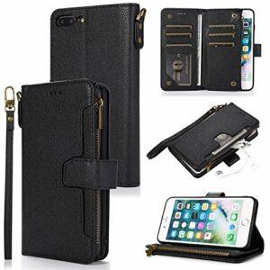 LODROC Coque iPhone 8 Plus/7 Plus Coque,Housse en Cuir Premium Flip Case Portefeuille Etui avec Stand Support et Carte Slot pour Apple iPhone 8Plus/7Plus – LOZY0300017 Noir