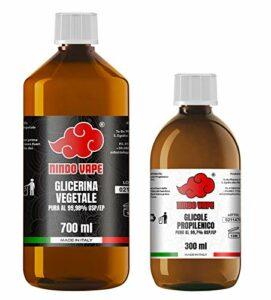 Nindo Kit base neutre 1 litre 70VG/30PG | glycérine végétale (99,98 %) + glycol propylène (99,7 %) | 100 % fabriqué en Italie | Sans OGM ni allergènes, grade pharmaceutique et alimentaire Certificat