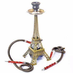 Set Complet de narguilé, narguilé Acrylique Tour Eiffel, Set d'accessoires narguilé avec 2 tuyaux et Bol en céramique, Lavable, Pipe utilisée dans Les Bars et boîtes de Nuit (sans Nicotine)
