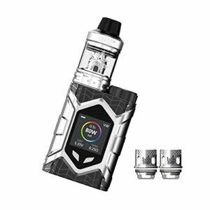 Vaptio Wall Crawler Vape KIT avec réservoir Frogman de 2,0 ml et cigarette électronique de 80 W TCR Mod Écran TFT de 1,3 pouces sans batterie sans liquide sans nicotine (Argent)