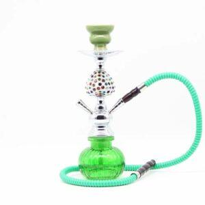 WJMT 36cm Shisha Hookah Set Shisha Combo Kit Ensemble Kit Shisha avec 2 tuyaux et Pince à Charbon, sans Nicotine (Color : Green)