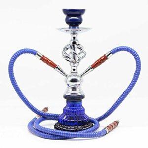 WJMT Shisha Hookah Premium 2 Tuyau Deluxe Hookah Set avec Accessoires de narguilé, sans Nicotine (Color : Blue)