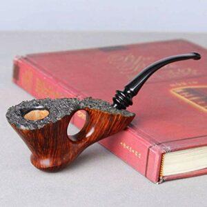 Accessoires pour Fumeurs Pipes de Tabac Shi Nanmu Pipe Charbon Actif Passe Bande de Design ignifugé Tabac Net à la Main Pipe 119mm × 53mm (Couleur: Dark Wood Grain) (Color : Dark Wood Grain)