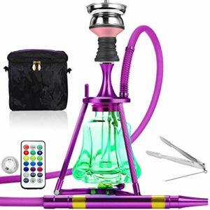 ADMY Hookah Kit narguilé 45 cm en aluminium + lumière LED | Pipe à eau complet avec embout de cheminée en acier inoxydable, tuyau en silicone et embout en aluminium (violet)