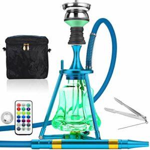 ADMY Kit narguilé Hookah 45 cm en aluminium + lumière LED | Pipe à eau complet avec embout de cheminée en acier inoxydable, tuyau en silicone, embout en aluminium (bleu)