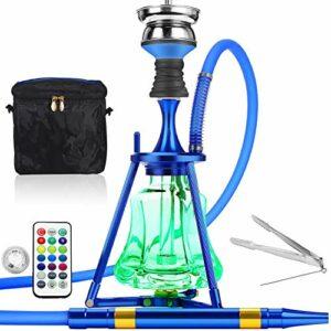 ADMY Kit narguilé Hookah 45 cm en aluminium + lumière LED | Pipe à eau complet avec embout de cheminée en acier inoxydable, tuyau en silicone, embout en aluminium (bleu foncé)