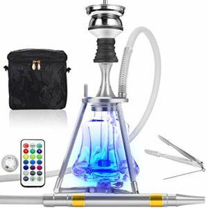 ADMY Kit narguilé Hookah 45 cm en aluminium + lumière LED | Pipe à eau complet avec embout de cheminée en acier inoxydable, tuyau en silicone et embout en aluminium