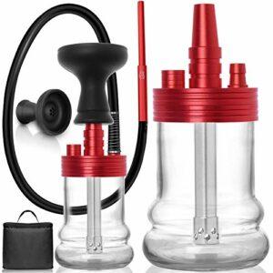 ADMY Mini narguilé – Petit Hookah – En aluminium – Avec tuyau en silicone et embout buccal – Tête en silicone – Pince – Diffuseur de tube plongeur – Sac de voyage – Rouge