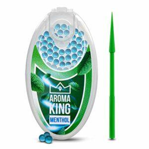 Aroma King – Lot de 100 capsules de menthol de qualité supérieure   Filtre à menthol DIY pour un goût inoubliable   Avec boîte pour ranger les boules aromatiques Click