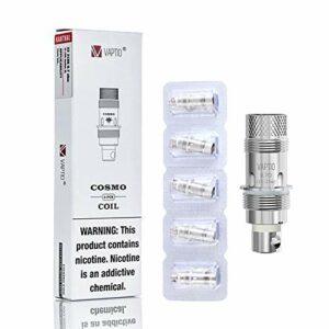Évaporateurs d'origine 5PCS Vaptio COSMO COIL Kit COSMO/TYRO/TYRO NANO/COSMO PLUS avec résistance 1.6ohm (MTL) / 0.7ohm (DL) Pas de liquide E sans nicotine (COSMO C2 COIL)
