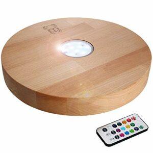 Kaya Support pour chicha LED avec LED et télécommande – Diamètre : 30 cm – Bois : hêtre – Accessoires pour narguilé