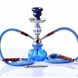 SSOLEREIT Hookah Harnhah Holiday Party Glass Vase Tube avec 2 narguilé Brownah Set Family Bar Club KTV Hall Hookah (Color : Bleu)