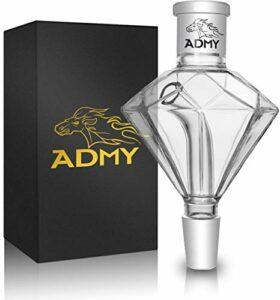 DFESKAH ADMY – Attrape-molasse diamant noir 18/8 – Embout de prérefroidissement en verre épais – Accessoire Hookah universel adapté à la plupart des pipes à eau – Facile à nettoyer – Transparent