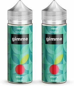 Double Pack – 100ml Cerise E-liquide, 70/30, Vape Juice, Sans nicotine ni tabac, Bouteille 120ml (Gimme E-Liquid)