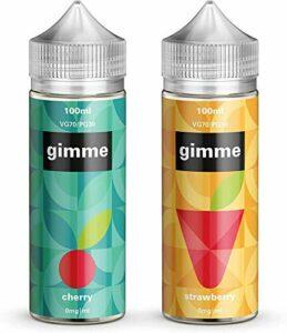 Double Pack – 100ml Cerise + Fraise E-liquide, 70/30, Vape Juice, Sans nicotine ni tabac, Bouteille 120ml (Gimme E-Liquid)