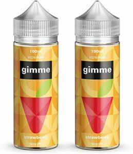 Double Pack – 100ml Fraise E-liquide, 70/30, Vape Juice, Sans nicotine ni tabac, Bouteille 120ml (Gimme E-Liquid)