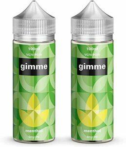 Double Pack – 100ml Menthol E-liquide, 70/30, Vape Juice, Sans nicotine ni tabac, Bouteille 120ml (Gimme E-Liquid)
